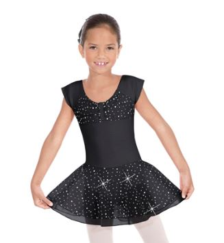 eurotard 02463 sequin ruched top skirted leotard