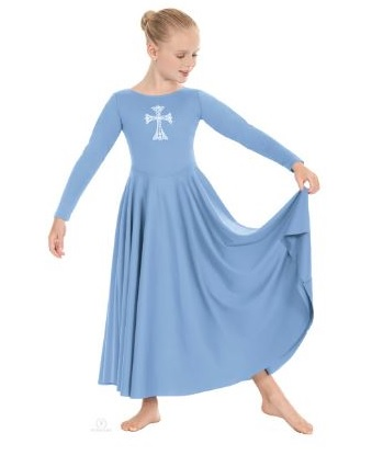 eurotard 11022 child polyester dress with rhinestone cross applique