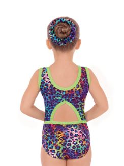 eurotard 31874 multi colored leopard print gymnastics tank leotard