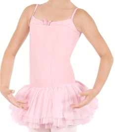 eu 33913 tutu cute child tactel camisole leotard with three layer tutu style attached soft mesh skirt and butterfly detail