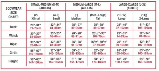 body wrappers 529 praise tunic sizing chart