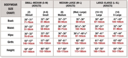 body wrappers 7391 adult short sizing chart