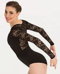 body wrappers P1081 long sleeve lace back leotard color swatch