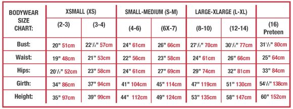 body wrappers p1081 long sleeve lace back leotard sizing chart
