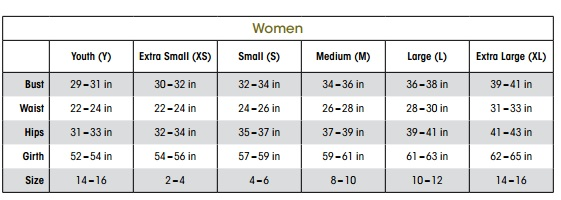 sizing chart for capezio 10397