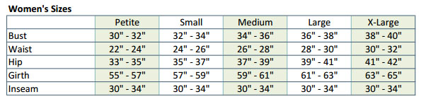 bloch sizing guide