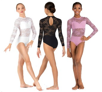 body wrappers lc110 child long sleeve lace leotard