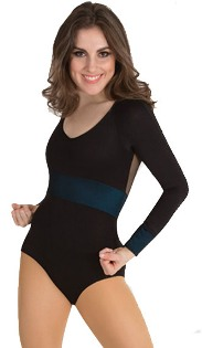 body wrappers p1011 tiler peck long sleeve mesh insert leotard