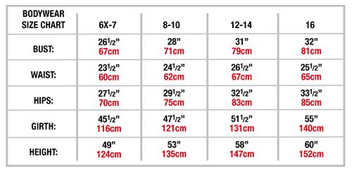 body wrappers 3322 y-back bike-a-tard sizing chart
