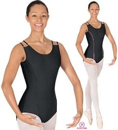 eurotard 17500 double strap leotard w princess piping and scooped back