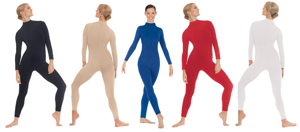 eurotard 44132 unisex mock neck long sleeve tactel microfiber unitard color swatch