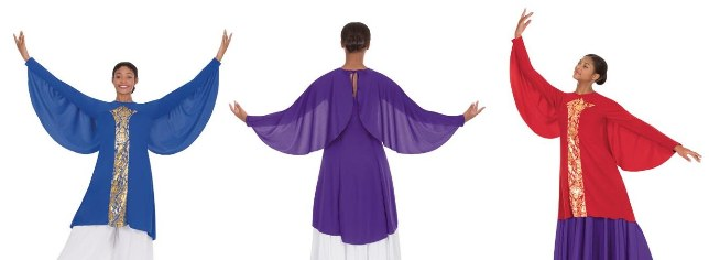 eurotard 49894 praise dance revival collection wing tunic
