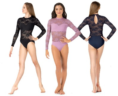 body wrappers lc210 adult long sleeve lace leotard