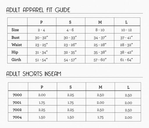 suffolk adult sizing chart