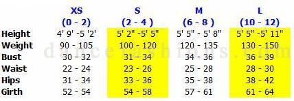 eurotard 44811, sizing chart