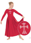 eurotard 11022c child polyester dress with rhinestone cross applique