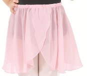 eurotard child chiffon pull on mock wrap skirt with rosette detail
