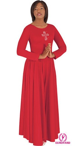 eurotard 11026 polyester dress with rhinestone royal cross applique