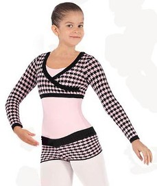 Eurotard 72512C Child Mock Wrap Houndstooth Knit Crop Top