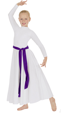 eurotard 13847c child polyester high neck liturgical dress with zipper back