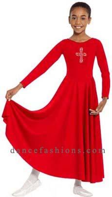 eurotard 11026c child polyester dress with rhinestone royal cross applique