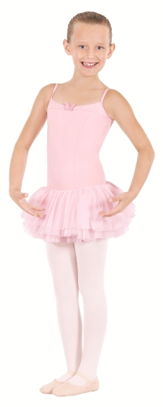 eu 33913 tutu cute child tactel camisole leotard with three layer tutu style attahed soft mesh skirt and butterfly detail
