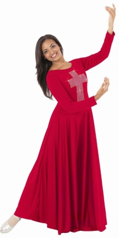 eurotard 11027 polyester dress with cross applique of silver studs and gold accent trim