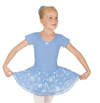 eurotard 01467 princess rose child short sleeve leotard w/ double layer chiffon skirt