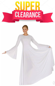 eurotard 13814 glory dress polyester princess seam dress with bell sleeves - clearance