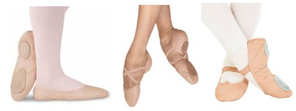 leather split sole ballet slippers