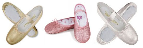 metallic ballet shoes