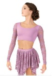 body wrappers lc9022 adult long sleeve lace crop top