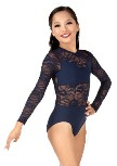 body wrappers lc110 child long sleeve lace leotard color swatch
