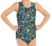 Eurotard 2889 child metallic foil paisley print gymnastics tank leotard