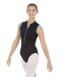 Eurotard 33519 Mia Microfiber Zipper Front Mesh Back Leotard with Contract Trim