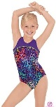 eurotard 31875 child multi color leopard print two tone gymnastics leotard