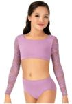 body wrappers lc1022 child long sleeve lace crop top