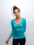 amb design 2398 watercolor ballerina long sleeve sheer top