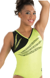gk elite 3725 lemon lime sky gymnastics tank leotard