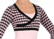 Eurotard 72512 Mock Wrap Houndstooth Knit Crop Top