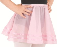 eu 02174 child chiffon pull on skirt with double satin ribbon trim detail