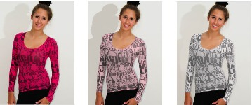 amb 2311 graffiti long sleeve sheer top