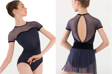 body wrappers p1232 fine mesh stripe cap sleeve leotard
