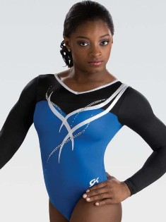 gk elite 5841st royal ribbon long sleeve gymnastics leotard center