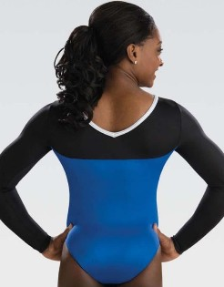 gk elite 5841st royal ribbon long sleeve gymnastics leotard back