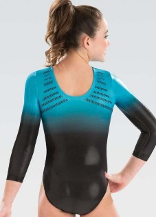 gk elite  5848st turquoise horizon competitive gymnastics leotard back