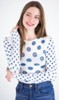 amb 6010-127 grunge polka dot raw edge top white color swatch