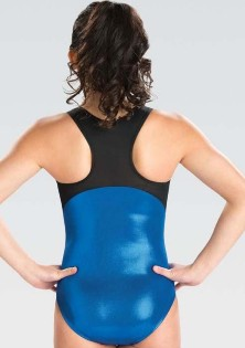 gk elite 3776 branded mesh racerback gymnastics leotard back