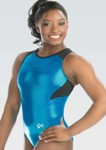 gk elite 3776 branded mesh racerback gymnastics leotard electric swatch