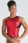 gk elite 3776 branded mesh racerback gymnastics leotard red swatch
